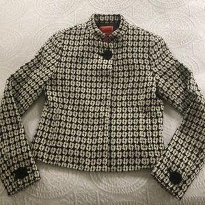 Black and cream wool blazer, silk lined